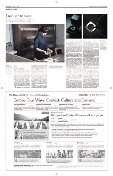 INTERNATIONAL NEW YORK TIMES に掲載いただきました